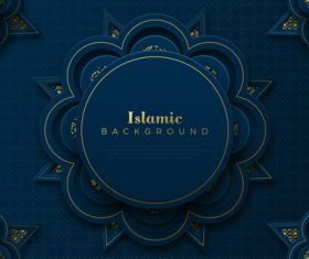 Islamic decorative style blue background vector