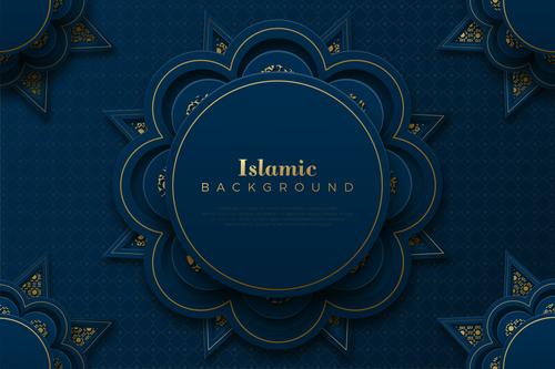 Islamic decorative style blue background vector