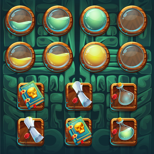 Item synthesis game interface design vector