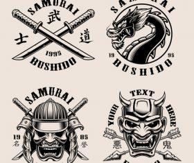 Japan samurai emblem vector