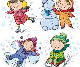 Kids cartoon vector having fun playing outdoors in winter