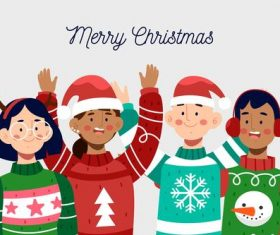 Kids christmas greeting cartoon vector