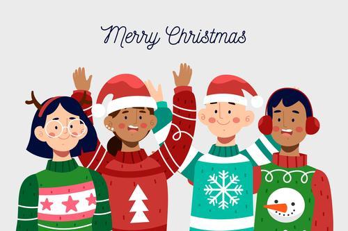 Kids christmas greeting cartoon vector