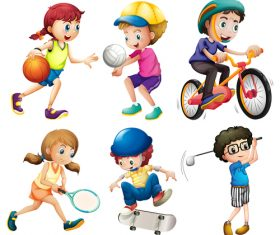 Kids doing sports cartoon vector