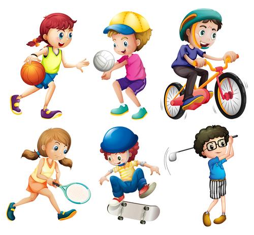 Kids doing sports cartoon vector