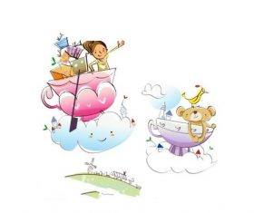 Kid's fantasy concept illustration vector