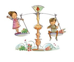 Kids on balance scales concept illustration vector