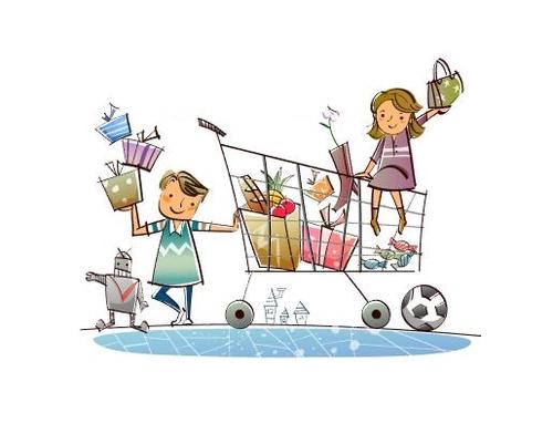 Kids shopping cart concept illustration vector
