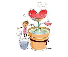 Kids watering flowers hand drawn vector