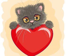 Kitten and hearts vector