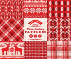 Knitted christmas elements seamless background vector