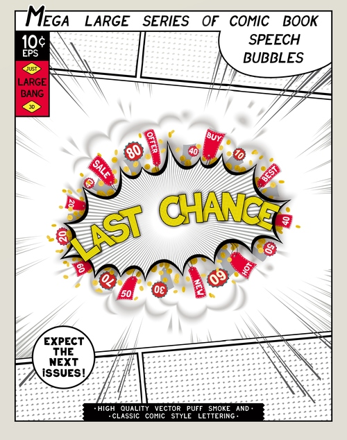 Last chance comic bang vector