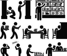 Library people pictograms vector