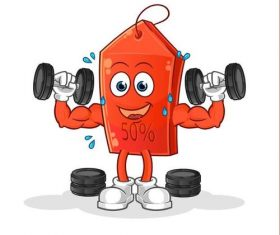 Lifting dumbbell cartoon icon vector