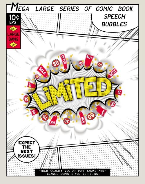 Limited comic bang vector