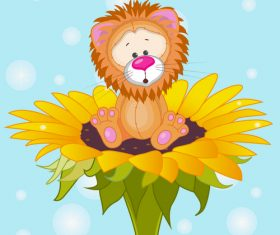 Lion cartoon sitting on top of flower vector