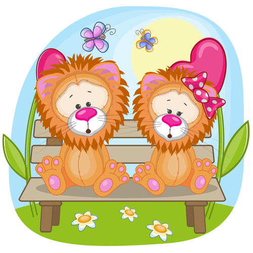 Lion couple sitting on a bench vector