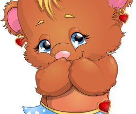 Little bear cartoon vector in skirt