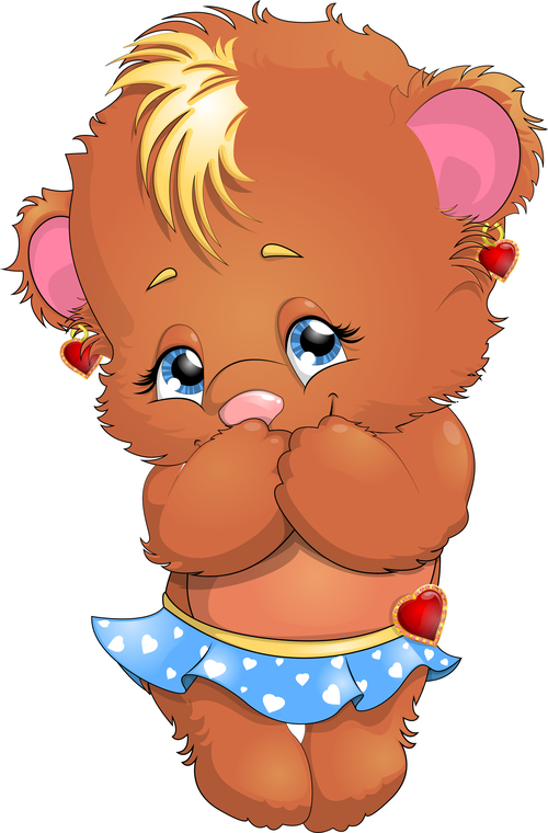 Little bear cartoon vector in skirt