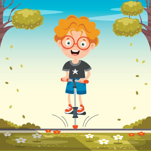 Little boy playing bouncing stilt vector
