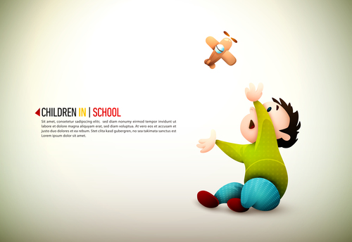 Little boy playing with toy airplane cartoon illustration vector