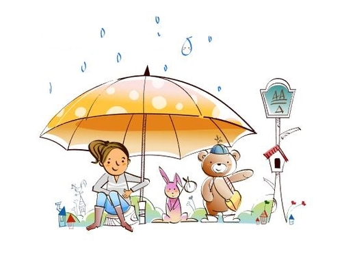 Little girl and animal together concept illustration vector