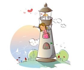 Little girl in the lighthouse cartoon vector