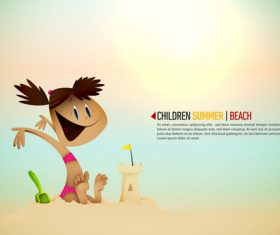 Little girl playing on the beach cartoon illustration vector