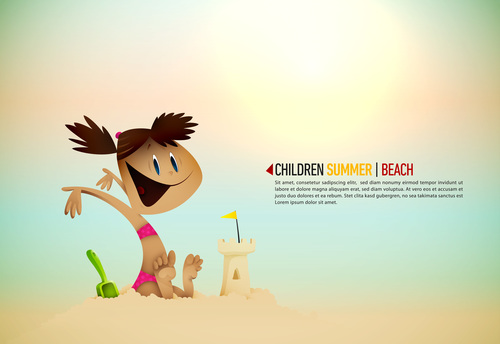 Little girl playing on the beach cartoon illustration vector