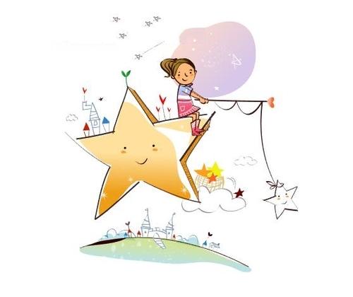 Little girl sitting on the stars concept illustration vector
