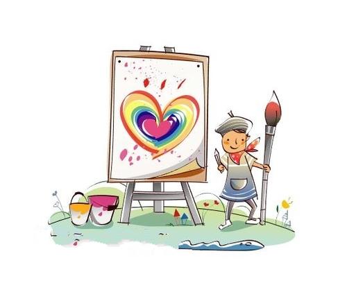 Little painter concept illustration vector