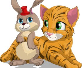 Little tiger and rabbit cartoon vector