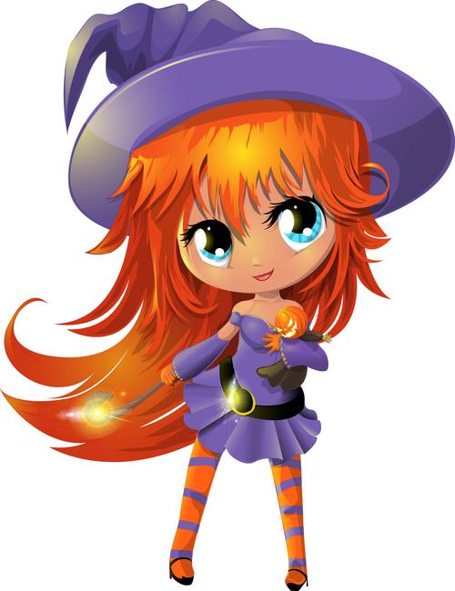 Little witch cartoon vector