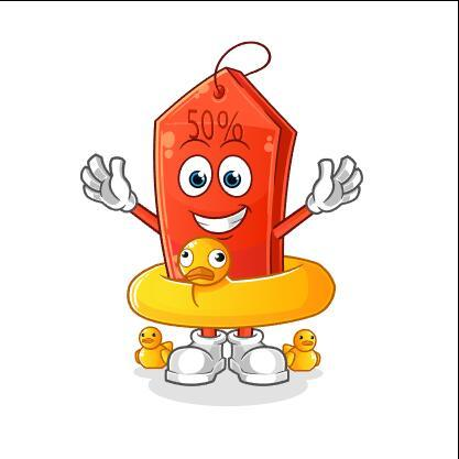Little yellow duck swimming ring cartoon icon vector