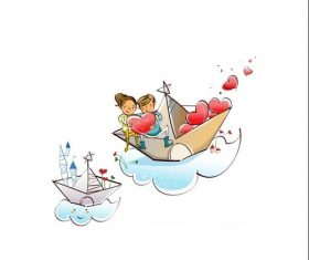 Love boat hand drawn illustration vector