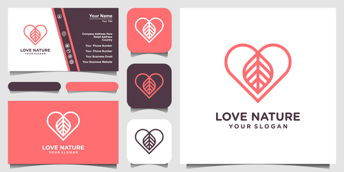 Love nature business card logo vector