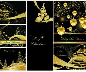 Luxury Christmas card cover design vector