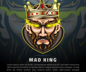Mad king game mascot design vector
