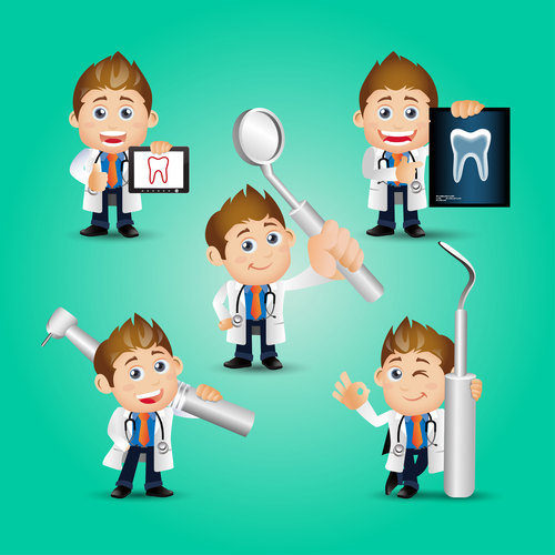 Male dentist and tools cartoon vector