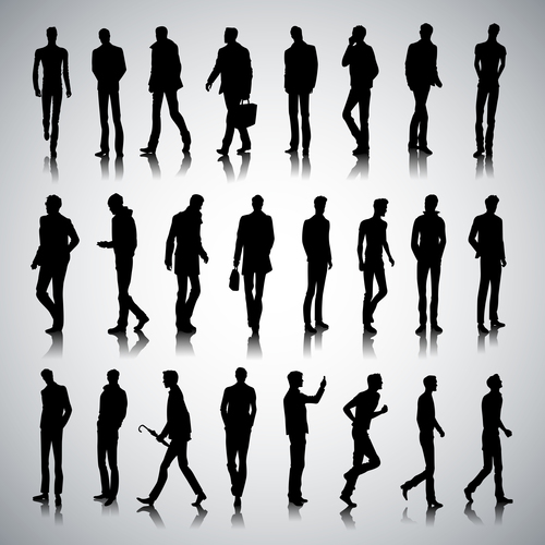 Male silhouettes in different poses vector
