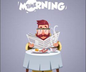 Man reading newspaper eating breakfast vector