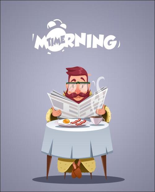 Man reading newspaper eating breakfast vector