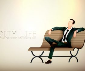 Man sitting on a bench resting cartoon illustration vector
