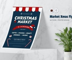 Market XMas Flyer vector