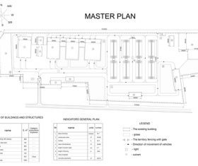 Master plan building construction sketch vector