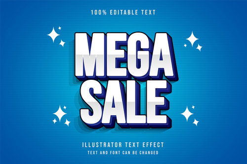 Mega sale 3d editable text vector