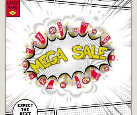 Mega sale comic bang vector