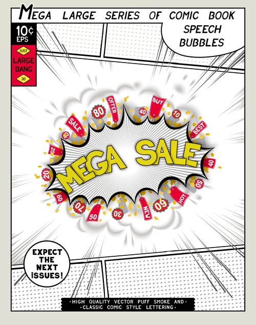 Mega sale comic bang vector