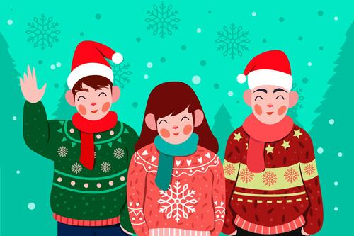 Men and women wearing knitted sweaters cartoon vector