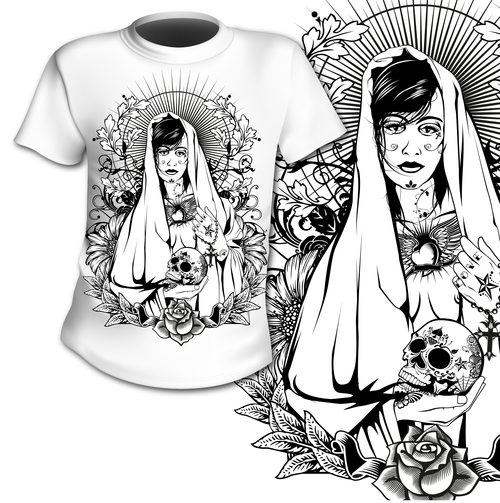 Mexico Day of the Dead t shirt printing pattern design vector